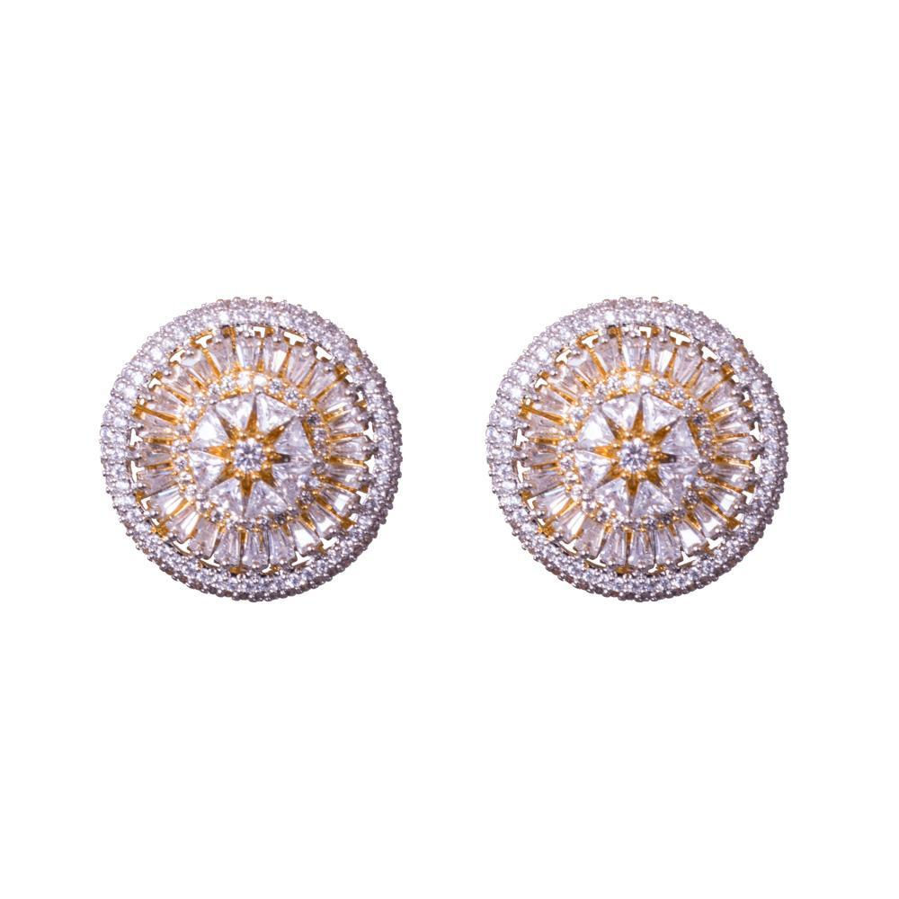 Circualr statement American diamond earrings