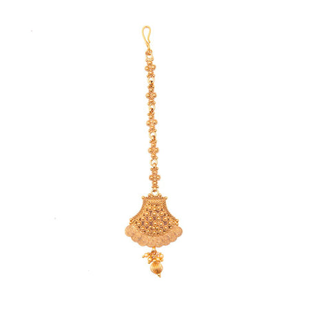 Matte Finish Gold Plated Traditional Maang Tikka