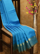 Silk cotton saree blue and mehendi green with simple zari border