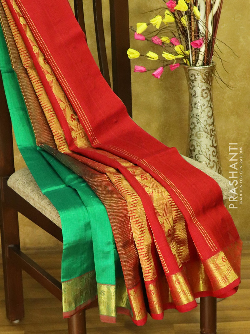Silk cotton saree green and maroon with zari border