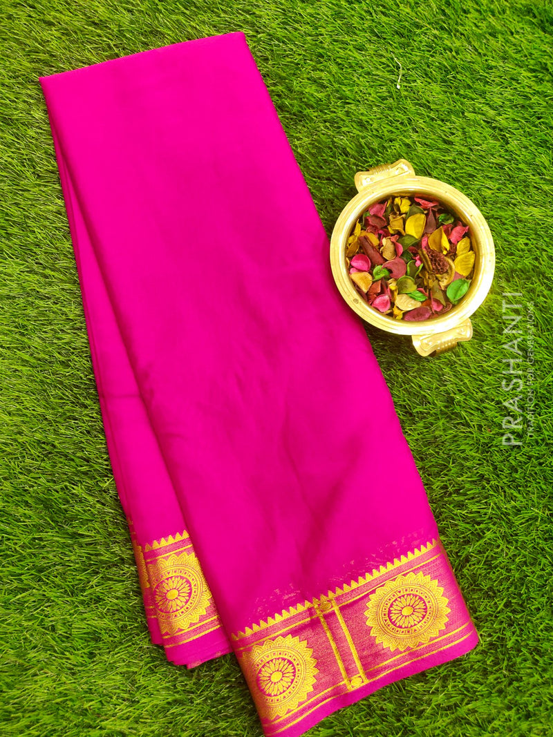 Semi Crepe saree pink with plain body and golden zari rich border
