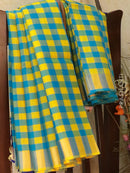Pure Soft Silk Saree blue and yellow with checked pattern in jute finish