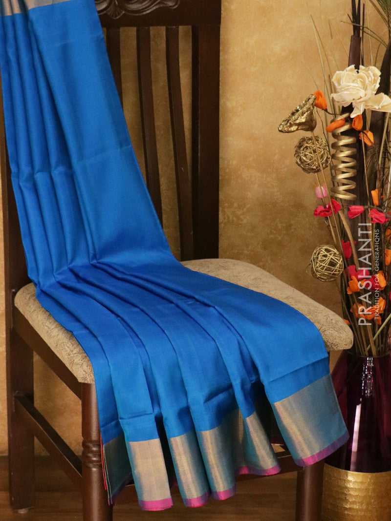 Pure Uppada silk saree cs blue and pink with kaddi zari border