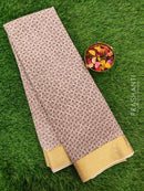 Semi Chiffon Saree off white and brown with all over prints