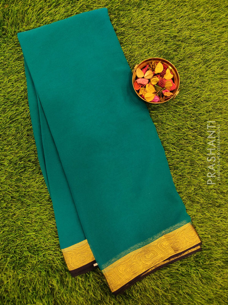 Semi Chiffon Saree peacock green and navy blue with zari border