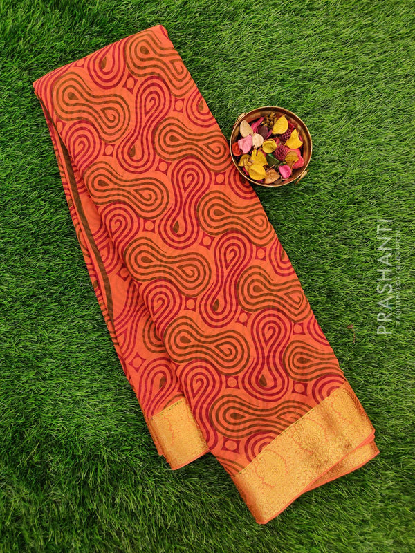 Semi Chiffon Saree peach orange with all over prints