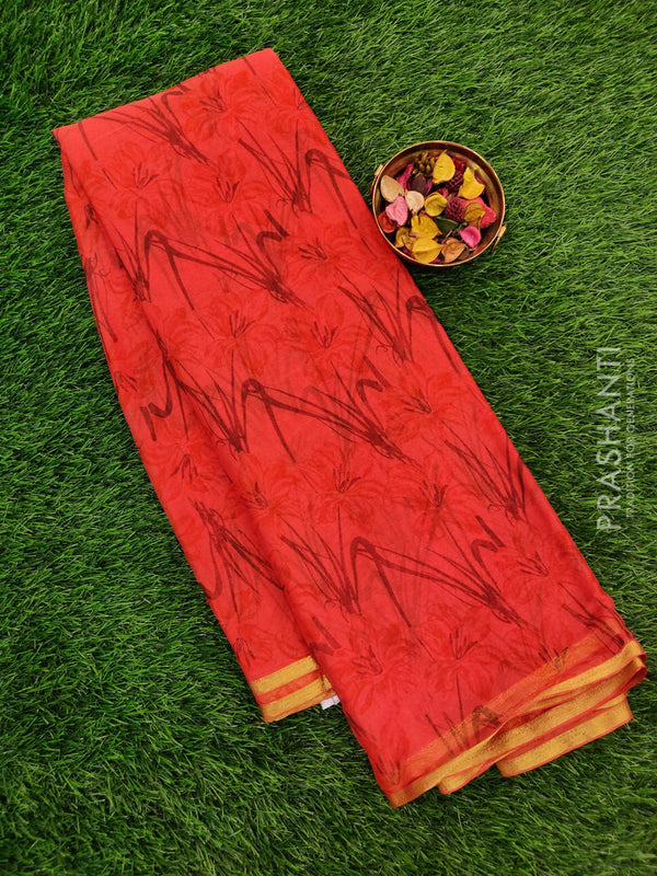 Semi Chiffon Saree orange with all over prints