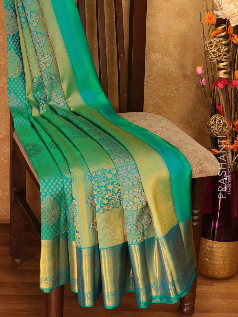 Pure Kanjivaram silk saree peacock green with rich brocade weaving with rich traditional zari border
