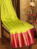 Pure Kanjivaram silk saree lime green and magenta rich brocade zari weaving with rich traditional zari border