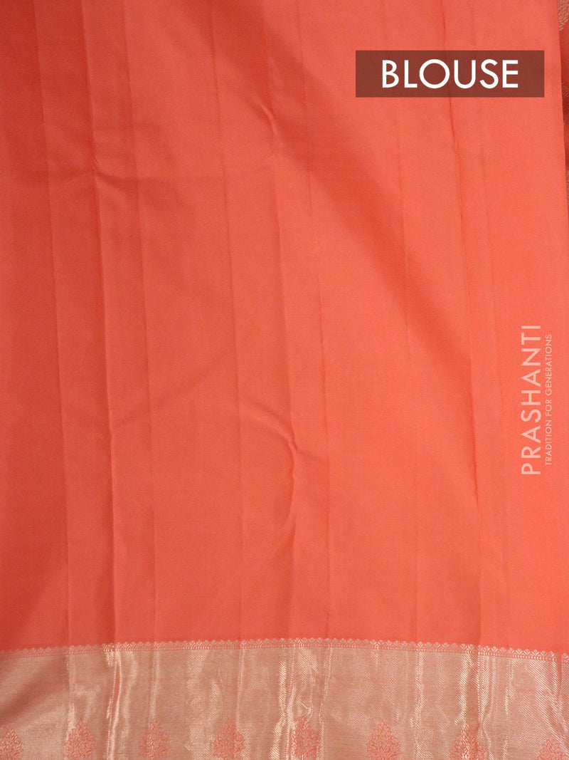 Pure Kanjivaram silk saree peach silver zari border and buttas with rich traditional zari border