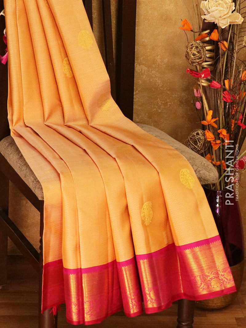 Pure Kanjivaram silk saree beige and magenta self emboss and zari buttas with rich traditional zari border