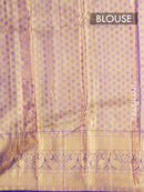 Pure Kanjivaram silk saree peach and violet zari brocade korvai weaving with rich traditional zari border