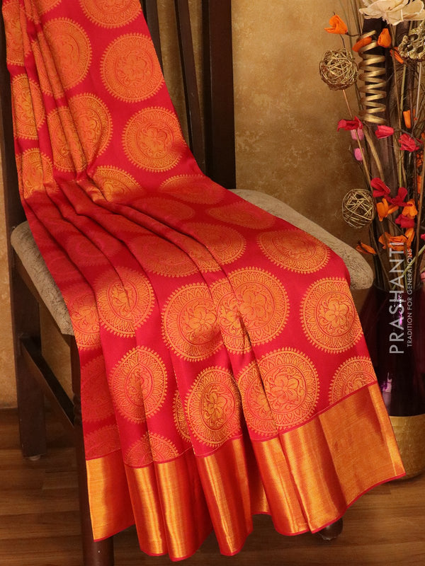 Pure Kanjivaram silk saree tomato red chakaram buttas with rich traditional zari border