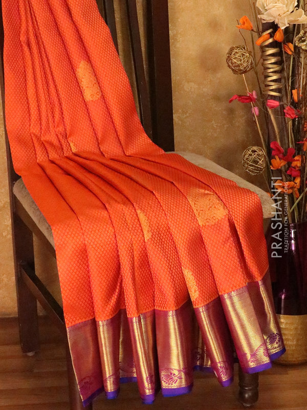 Pure Kanjivaram silk saree dual shade of pink and purple self emboss zari buttas with rich traditional zari border