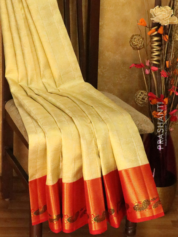 Pure Kanjivaram silk saree off white and red zari checked korvai weaving with rich traditional zari border