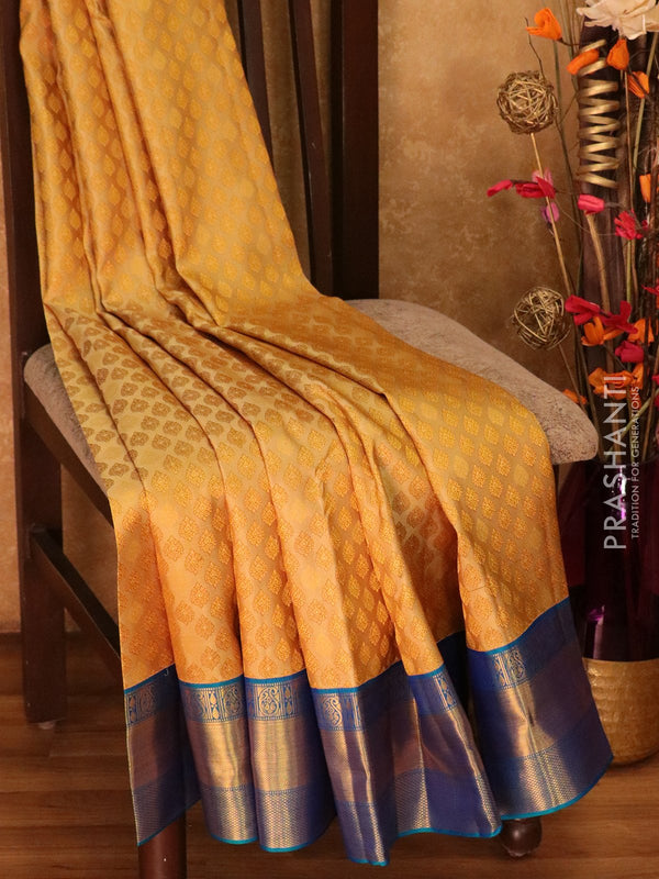 Pure Kanjivaram silk saree beige and blue korvai all over zari brocade with rich traditional zari border