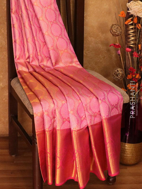 Pure Kanjivaram silk saree rose and pink tissue all over brocade pattern with rich traditional zari border