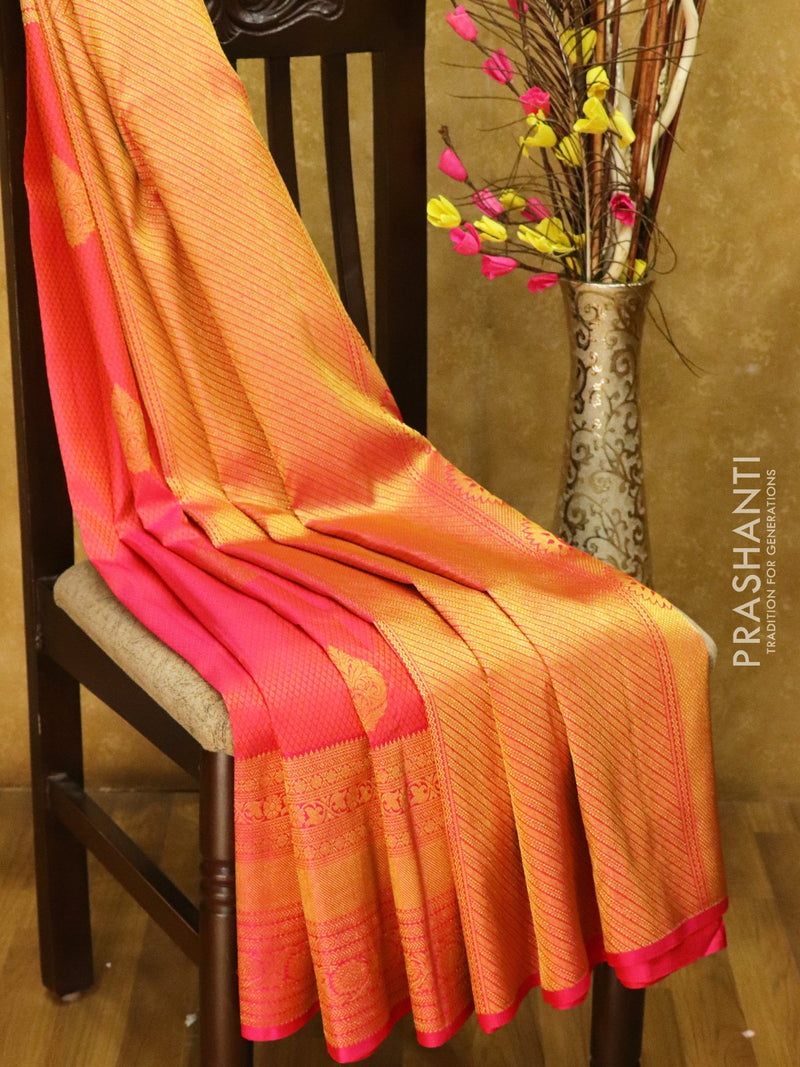 Pure Kanjivaram silk saree pink self emboss zari buttas with rich traditional zari border