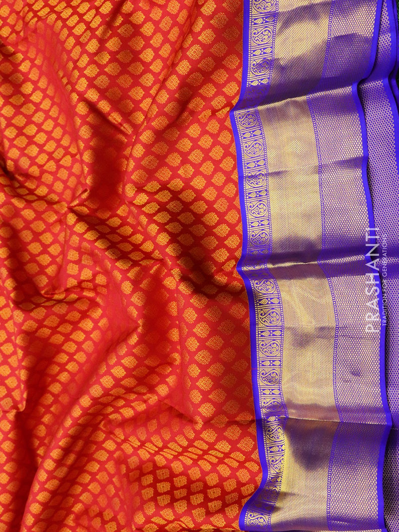 Pure Kanjivaram silk saree maroon and violet all over zari buttas korvai weaving with rich traditional zari border