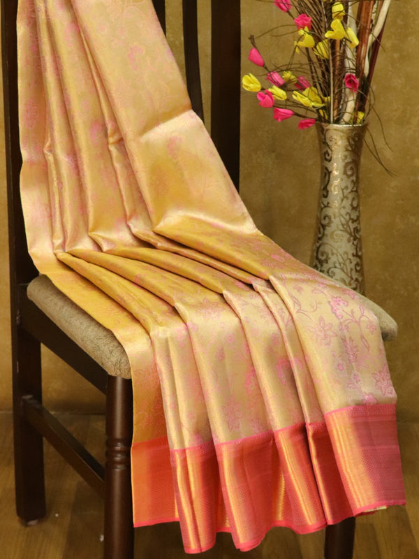 Pure Kanjivaram silk saree full tissue baby pink with rich traditional zari border