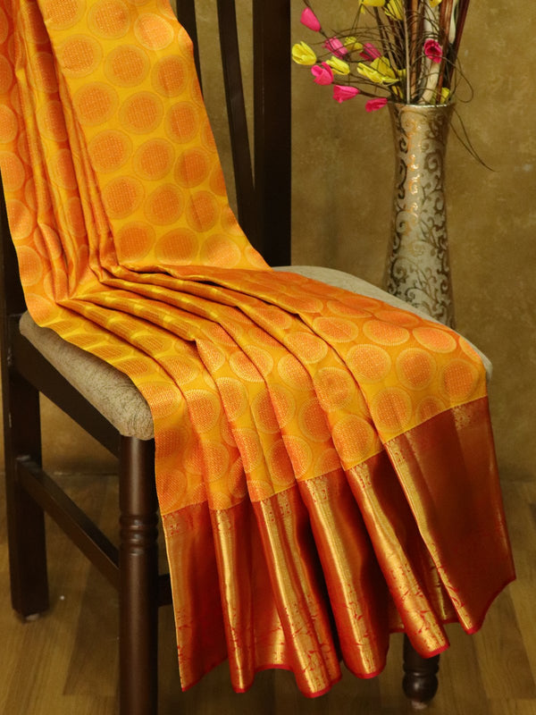 Pure Kanjivaram silk saree golden yellow and maroon all over zari brocade buttas with rich traditional zari border
