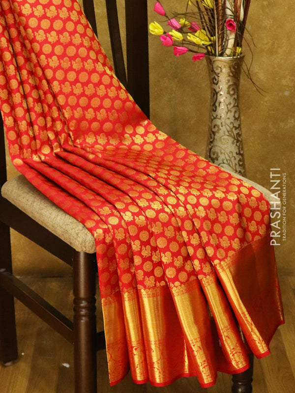 Pure Kanjivaram silk saree red all over zari brocade weaving with rich traditional zari border