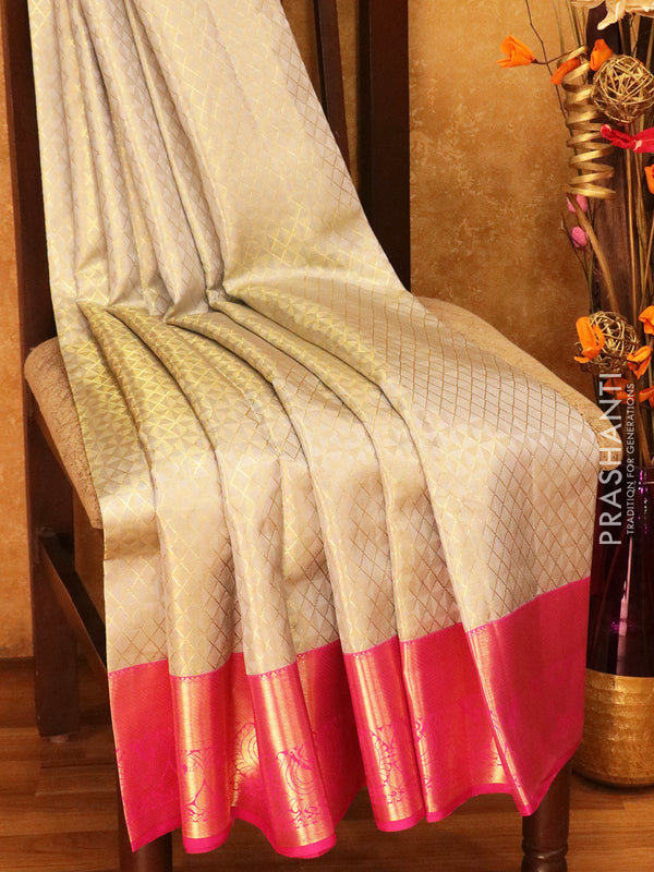 Pure Kanjivaram silk saree silver grey and pink korvai with zari checks with rich traditional zari border