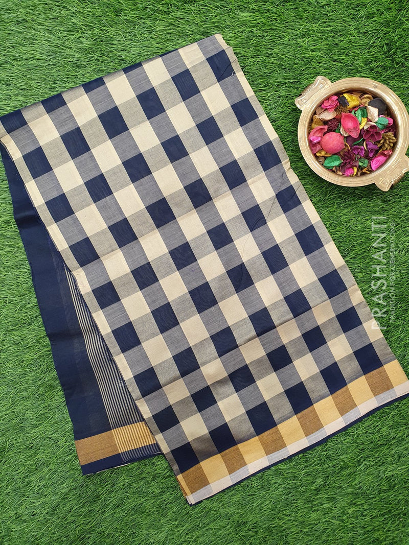 Semi silk cotton saree off white and navy blue checked pattern with simple zari border for Rs.Rs. 1390.00 | by Prashanti Sarees