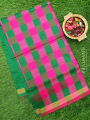 Semi silk cotton saree pink and green checked pattern with simple zari border