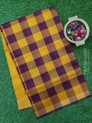 Semi silk cotton saree maroon and mustard yellow checked pattern with simple zari border