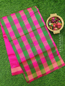 Semi silk cotton saree green and pink checked pattern with simple zari border