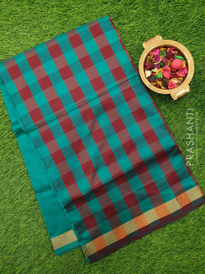 Semi silk cotton saree maroon and peacock green checked pattern with simple zari border