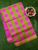 Semi silk cotton saree apple green and pink checked pattern with simple zari border