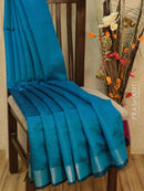 Dupion silk saree blue and beige with geometric thread weaving and golden zari border