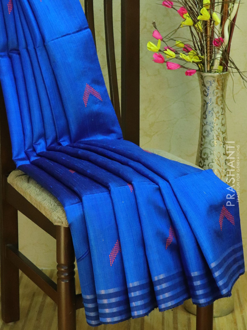 Dupion silk saree blue and beige with thread weaving and golden zari border