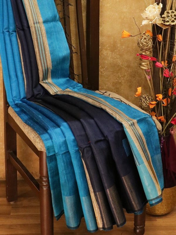 Dupion silk saree blue and navy blue with geometric thread weaving and golden zari border