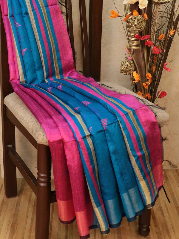 Dupion silk saree magenta pink and blue with geometric thread weaving and golden zari border