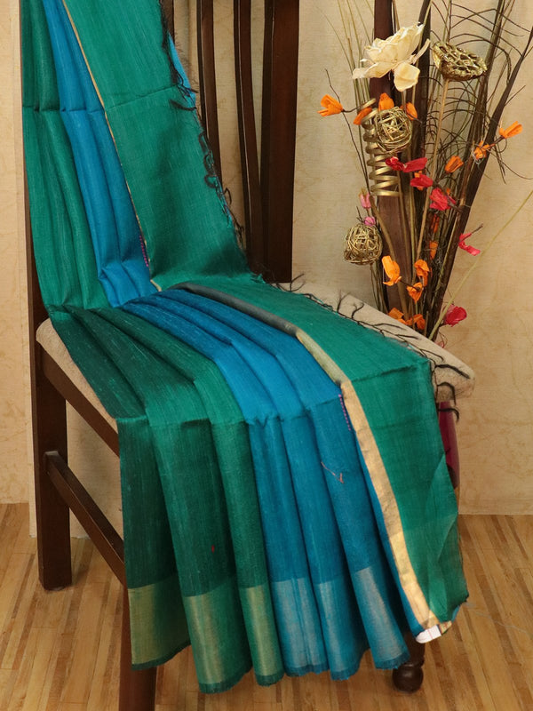 Dupion silk saree green and blue with thread weaving and golden zari border