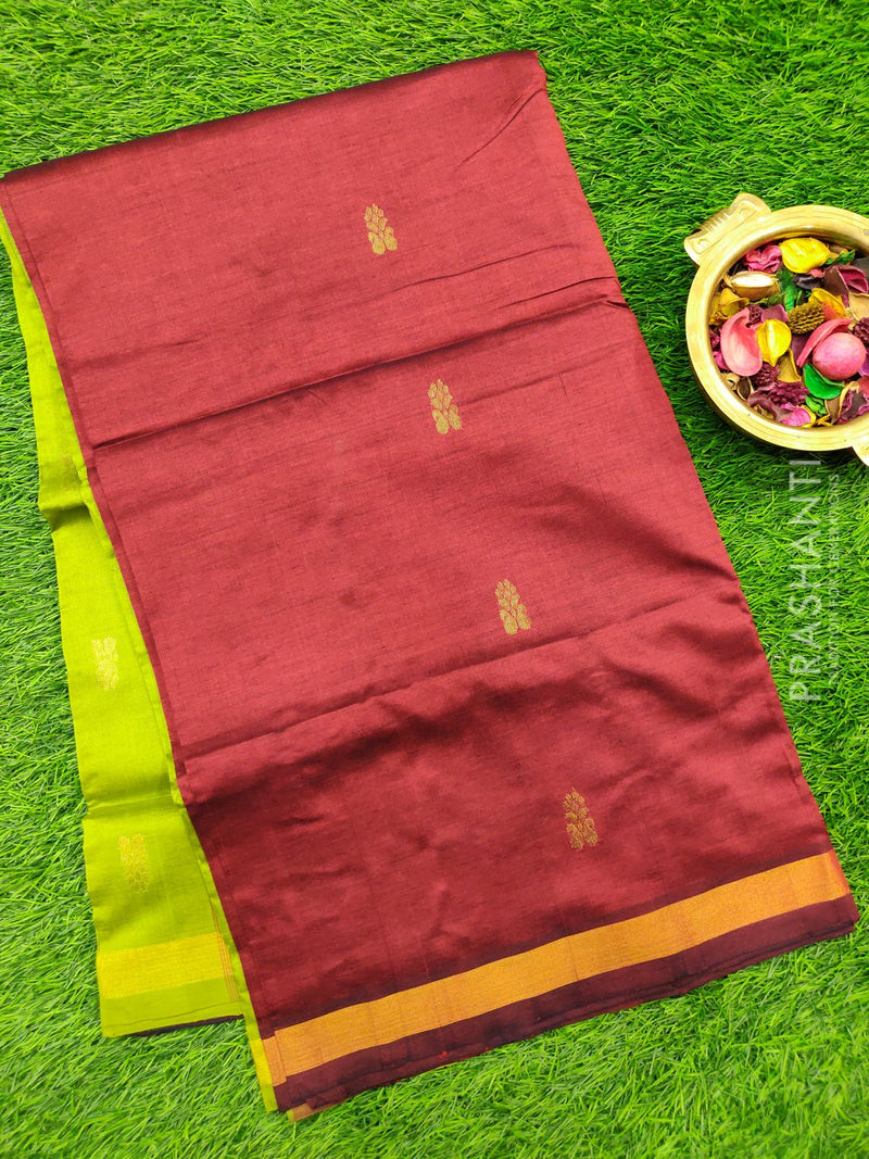 Semi silk cotton saree maroon and green with golden zari buttas and zari border for Rs.Rs. 1690.00 | by Prashanti Sarees