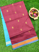 Semi silk cotton saree maroon and blue with golden zari buttas and zari border