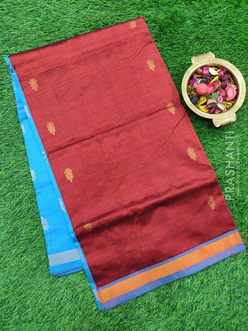Semi silk cotton saree maroon and cs blue with golden zari buttas and zari border