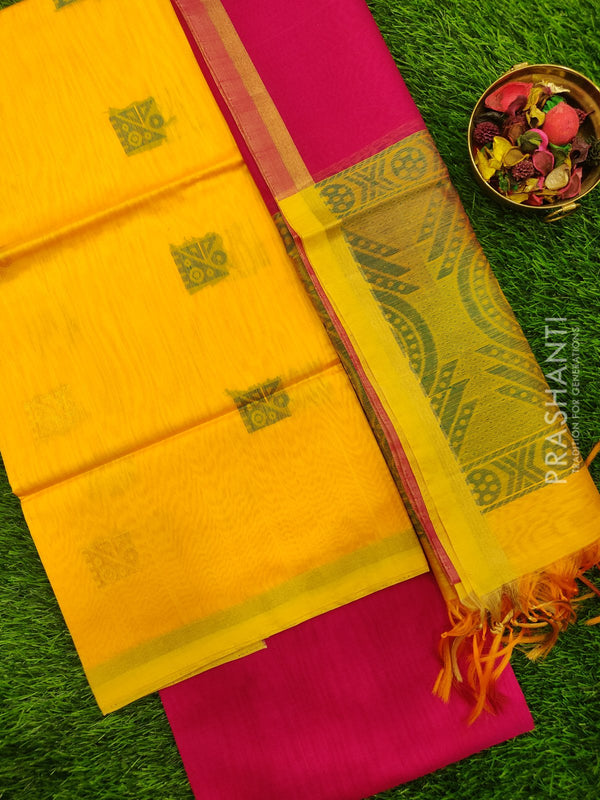 Silk Cotton Dress Material yellow and pink with woven silk cotton dupatta