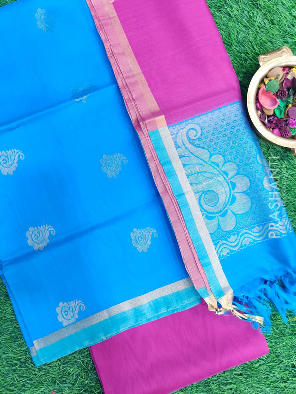 Silk Cotton Dress Material cs blue and magenta with woven silk cotton dupatta