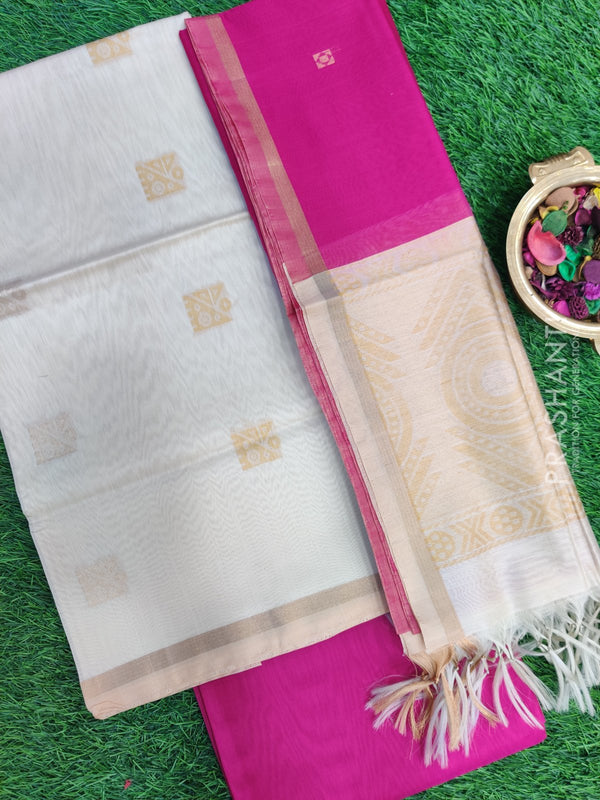 Silk Cotton Dress Material off white and pink with woven silk cotton dupatta