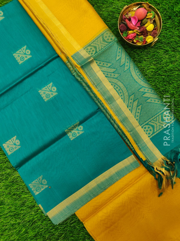 Silk Cotton Dress Material mustard and teal with woven silk cotton dupatta