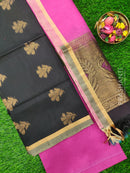 Silk Cotton Dress Material black and magenta with woven silk cotton dupatta
