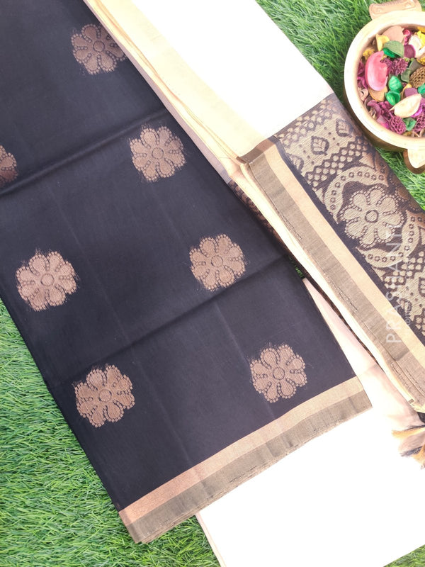 Silk Cotton Dress Material black and off white with woven silk cotton dupatta