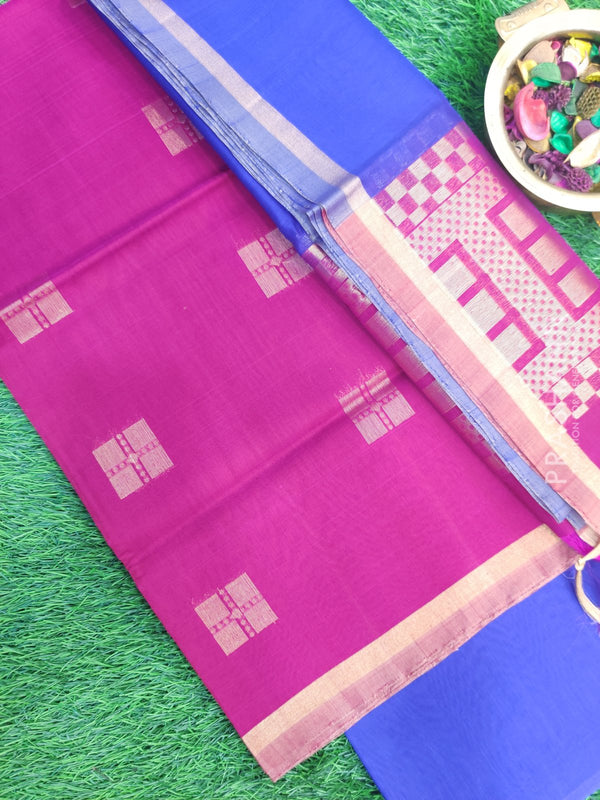 Silk Cotton Dress Material tomato pink and blue with woven silk cotton dupatta