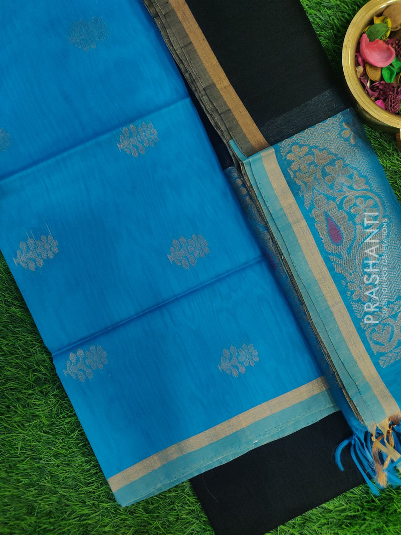 Silk Cotton Dress Material cs blue and black with woven silk cotton dupatta