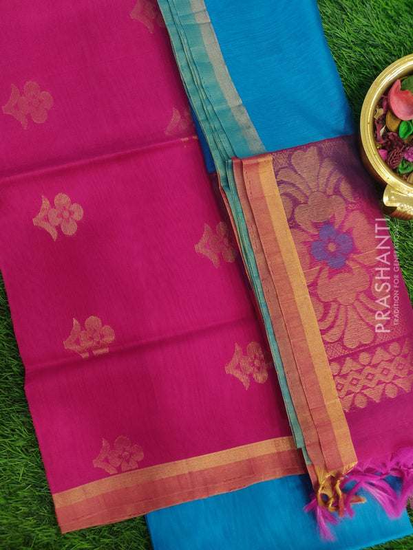 Silk Cotton Dress Material pink and cs blue with woven silk cotton dupatta